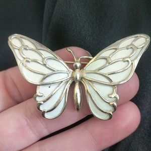 VTG Napier light goldtone white wing butterfly pin